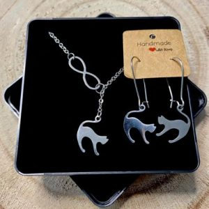 """Stainless steel Earrings & Necklace set """"Infinity symbol with cat"""" - 132a382a 33e1 4607 9866 4c93709e8059 500x500"""