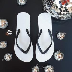 Naked Flip Flops – Black on White