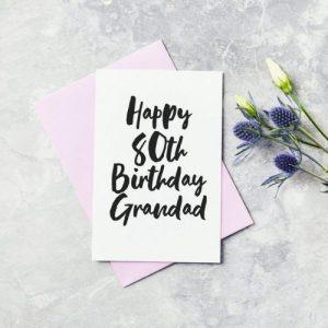 Eightieth Birthday Greeting Card – Grandad, Pops, Gramps, Grandpa Happy 80th Birthday Card