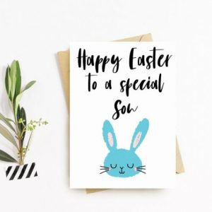 Happy Easter Greeting Card, Handmade, Bunny, Blank Inside, Rabbit Easter card, Personalised – Son, Happy Easter Son