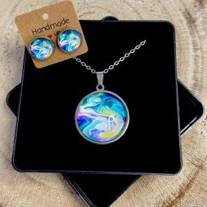 "Stainless steel Earrings & Necklace set ""Color oil"" green-blue - 2cade2e0 a352 4e6e b689 6b08b03d1ba0 500x500"