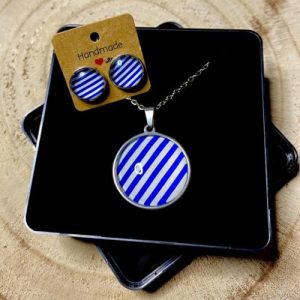 """Stainless steel Earrings & Necklace set """"Stripes"""" blue and white - 33c7c95f 0de7 443e 9dc7 e2323c860218 500x500"""