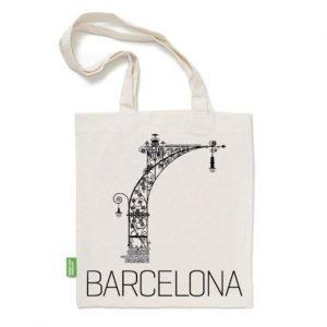 Bag / Barcelona flower / black-white