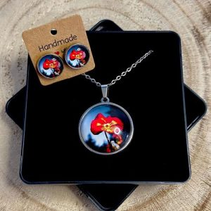 """Stainless steel Earrings & Necklace set """"Contrast pansies"""" - 39af67ae bef3 494b a920 70a39f2783b4 500x500"""