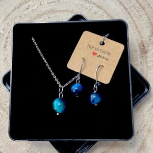 """Stainless steel Earrings & Necklace set """"blue tiger eye gemstone"""" - 4075e223 67df 42c1 bf67 0a8ea342b097 500x500"""