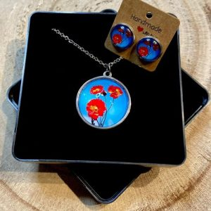 """Stainless steel Earrings & Necklace set """"Poppy seeds several times"""" - 42598847 0eec 4818 8565 409d933701a7 500x500"""