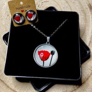 "Stainless steel Earrings & Necklace set ""Poppy flower with bud"" gray - 4edbca84 e9f3 4102 b3a0 0add477e72fe 500x500"
