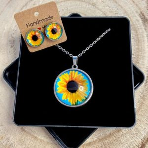 """Stainless steel Earrings & Necklace set """"Sunflower"""" - 58599881 b114 4b03 a07e a2c0c5dd5b51 500x500"""