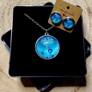 """Stainless steel Earrings & Necklace set """"Style dandelion"""" turquoise - 67685623 ee35 4a57 9eb1 7796102efa8e 500x500"""