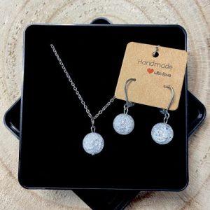 "Stainless steel Earrings & Necklace set ""Rock crystal gemstone"" - 68e0908e b0f0 4c92 b85a 46543192180e 500x500"