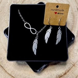 """Stainless steel Earrings & Necklace set """"Infinity symbol with feather"""" - 6d9003ae 31c8 467a 8c18 32d96f2be816 500x500"""