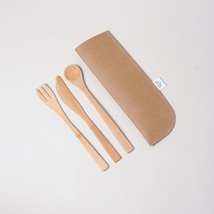 Vegan Leather Cutlery Pouch- Brown