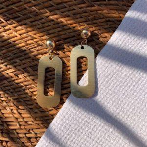 Gold Statement Oblong Earrings - 750x1000 500x500