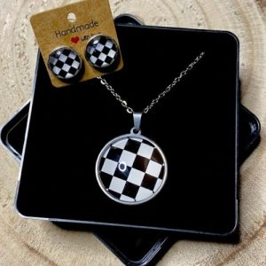 """Stainless steel Earrings & Necklace set """"Chessboard"""" black and white - 78cdd1ed 7ced 44fc a9cf e81e69560750 500x500"""