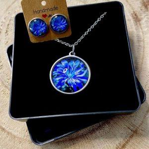 "Stainless steel Earrings & Necklace set ""Contrast Cornflower"" - 8218dfbf ab95 4906 b174 6a5c3c85d3e3 500x500"