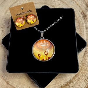 "Stainless steel Earrings & Necklace set ""Style dandelion"" orange - 87b4e2ce a318 4206 87ca dae427480c59 500x500"