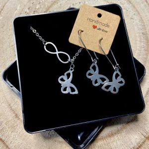 """Stainless steel Earrings & Necklace set """"Infinity symbol with butterfly"""" - 94560463 82b4 4163 9002 ed4db5ade356 500x500"""