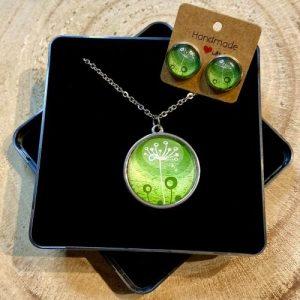 """Stainless steel Earrings & Necklace set """"Style dandelion"""" green - 978f0718 21b9 4ede afa4 5393e08f7ffd 500x500"""