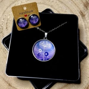 """Stainless steel Earrings & Necklace set """"Style dandelion"""" violet - 9d685741 2848 4a75 999a 2bed5a2a5161 500x500"""