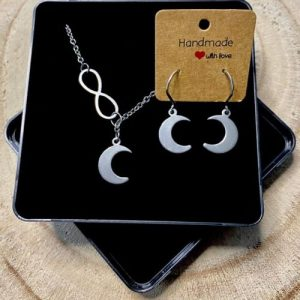"""Stainless steel Earrings & Necklace set """"Infinity symbol with moon"""" - 9eead9b6 8e4f 4ec0 9c53 7f36bef55a9e 500x500"""