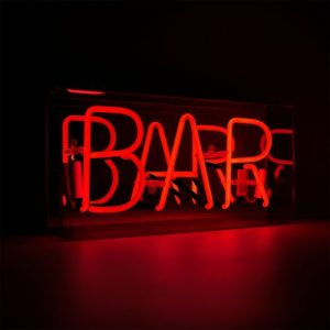 'Bar' Acrylic Box Neon Light - ACBN BAR ANGLE ON WEB 500x500