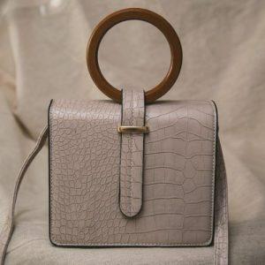 Ava Croc Messenger Bag – Taupe