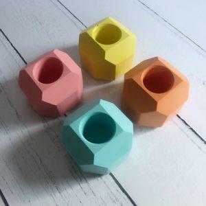 Set of 4 geometric summer brights jesmonite taper candle holders - B65E8AF4 2E27 4655 B674 1B20E7C72B79 500x500