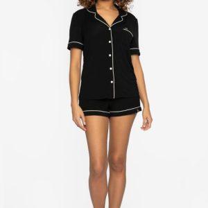 BAMBOO Shirt and Short Pyjama Black