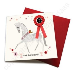 Congratulations – Horse Greeting Card (with satin ribbon rosette) – CHDC13 (Six pack)
