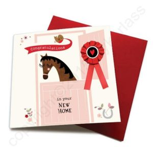 New Home – Horse Greeting Card (with satin ribbon rosette) – CHDC17 (Six pack)