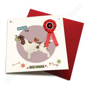 Bringing You Birthday Wishes – Dog Greeting Card (with satin ribbon rosette) – CHDC52 (Six pack)