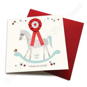 Baby Boy – Horse Greeting Card (with satin ribbon rosette) – CHDC7 (Six pack)