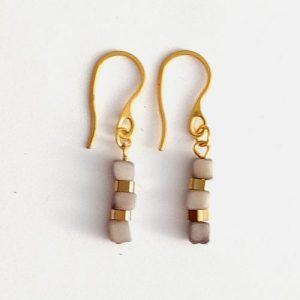 Leticia Mini Tagua Nut Drop Earrings – Grey