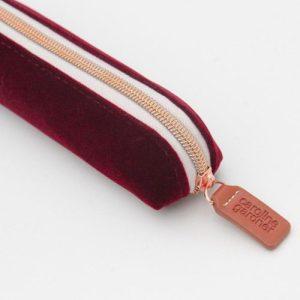 Burgundy Velvet Small Pencil Case