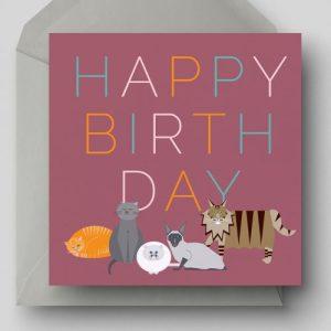 Happy Birthday Cats Greetings Card - EllieGoodIllustration HappyBirthdayCats card 500x500