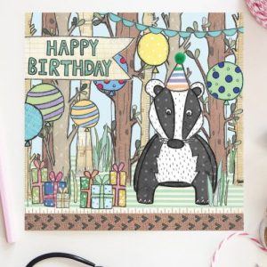 Flossy Teacake Badger Woodland Card - FOJ 2429 Badger Woodland Birthday Card BASE product image 1 Marketplace WorkingFormat Marketplace Converted Zoom 500x500