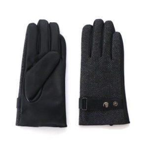 Men's Grey Tweed Gloves with Adjustable Wrist Buckle