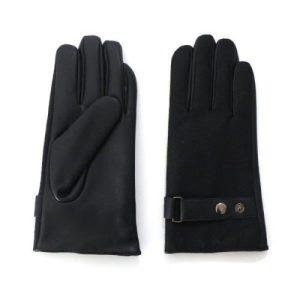 Men's Black Tweed Gloves with Adjustable Wrist Buckle