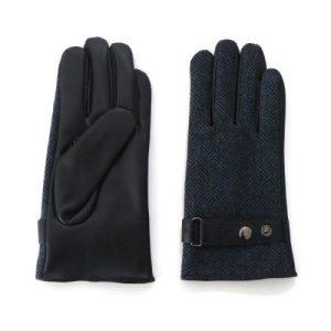 Men's Blue Tweed Gloves with Adjustable Wrist Buckle