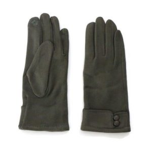 Green Two Button Suede Touch Screen Gloves