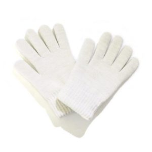 White Winter Woolly Knitted Gloves