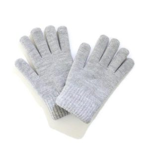 Grey Winter Woolly Knitted Gloves