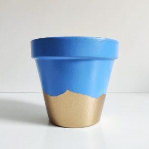 Gold Bottom Planter – Blue