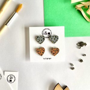 Gold Leopard Mini Heart Studs Hand Painted Wooden Earrings - IMG 8267 1024x1024@2x 500x500