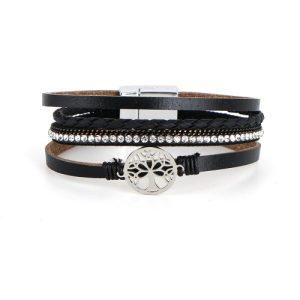 Tree of Life Multilayer Black Leather Wrap Magnetic Buckle Bracelet