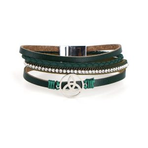 Trinity Multilayer Green Leather Wrap Magnetic Buckle Bracelet