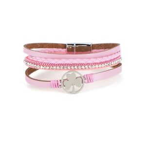 Shamrock Multilayer Pink Leather Wrap Magnetic Buckle Bracelet