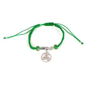 Thin Green String Bracelet with Beads and Trinity Charm