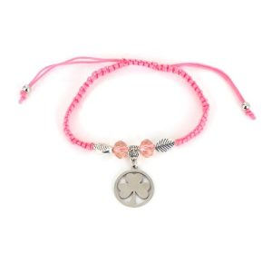 Thin Pink String Bracelet with Beads and Shamrock Charm