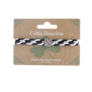 Black & White Leather Twisted Braided Bracelet with Shamrock Steel Pendant